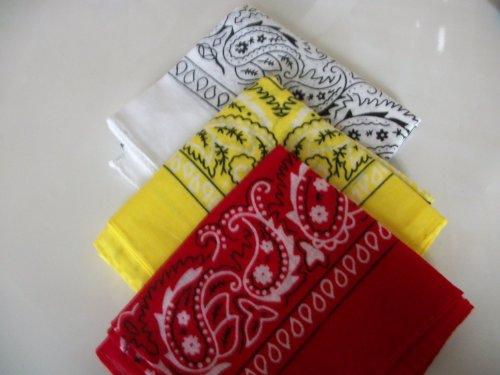 Lot de 3 Bandanas Motif cachemire Blanc, jaune, rouge et post rapide