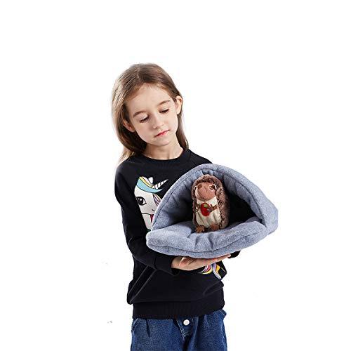 Zunbo - 1 saco de dormir para gato o perro de compañía, cama para animal doméstico con tienda de campaña para pequeños gatos y perros, saco de dormir de forro polar grueso cálido, gris