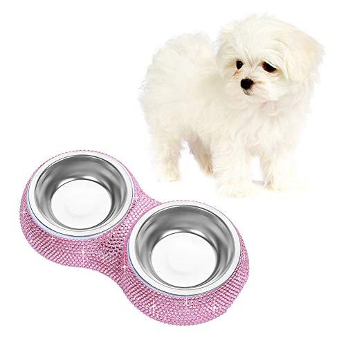 Soleebee Bling Strass Haustier Hundefutter Hunde Fressnapf Wasser Futterspender Schüssel Doppelgebrauch Teller - Rosa