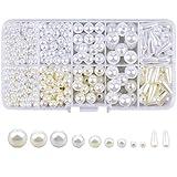 Perlas de imitación Perlas redondas para hacer joyas Collar de decoración Pendientes con caja Kits de fabricación de abalorios Perlas Granos Redondos Perlas para Manualidad Artesanía