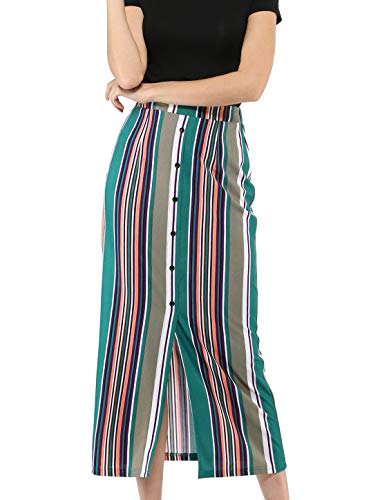 Allegra K Women's Colorful Striped Skirts Skirt Buttons Pencil Midi Skirt S Green