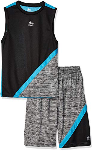RBX Boys' Little 2 Piece Performance Top and Short Set, Turquoise/Black, 4