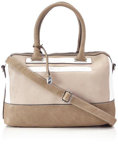 L.CREDI Handtasche 309-8081 Damen Bowlingtaschen 35x21x16 cm (B x H x T), Mehrfarbig (beige/weiß/schwarz-kombi)