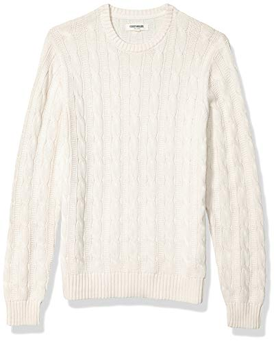 Cable Knit Sweaters Men Yellow