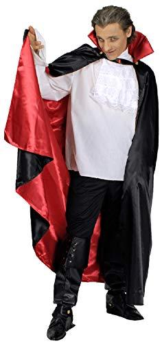 narrenkiste K31272537 - Capa de vampiro para hombre y mujer (130 cm de largo), color negro y rojo