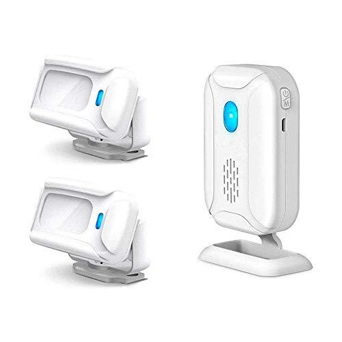 NineLeaf Infrarot Türklingel Alarm Sensor Glocke Ladeklingel Durchgangs- oder Eingangsmelder Willkommensgast mit 32 verschiedenen Melodien für Business Hotel Zuhause Weiß einem Sender und 2 Empfängern