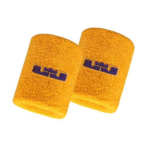 DUODUO Basketball Sports Wristbands for Sports Cushioning Protect The Wrist, 2-Pack Team Logo Sweat Wristbands (James-Lakers)