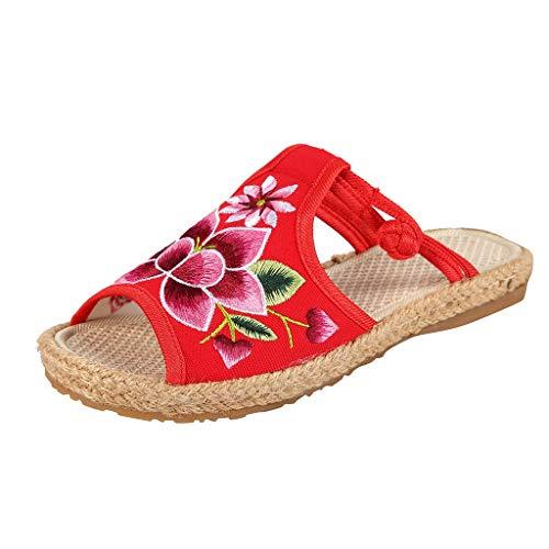 Darringls Damen Schuhe Frauen Sandalen Embroiderot Hausschuhe Fisch Mund Nationalen Alten Peking Tuch Schuhe Die Sandalen Der Frauen Bestickten Schuhe Sandalen Bestickte Hausschuhe