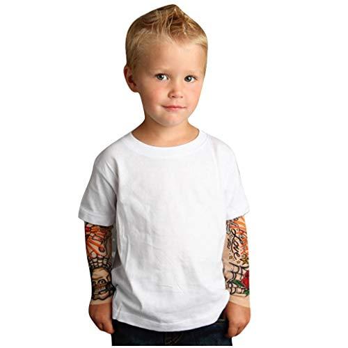 Xiangdanful Jungen Mädchen Tattoo T-Shirt Coole Baby Boy Girl Hip Hop Sweatshirt Kleinkind Kleidung Kinder Langarmshirt Oberteile Baumwolle Tops Tees Neugeborenen Outfits Jumper (120, Rot)