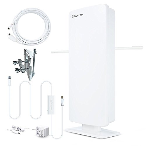 ANTOP ANTENNA AT-400BV Flat-Panel Smartpass Amplified Outdoor/Indoor HDTV Antenna with High Gain and Built-in 4G LTE Filter 60/70 Miles Long Range 39' Detachable Coaxial Cable, White