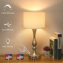 Bedside Touch Lamp with Dual USB Charging Ports, 3 Way Dimmable Nightstand Lamp with Silver Base, USB Touch Control Table Lamp Modern Ambient Light for Living Room, Bedroom, 6W 2700K LED Bulb Included