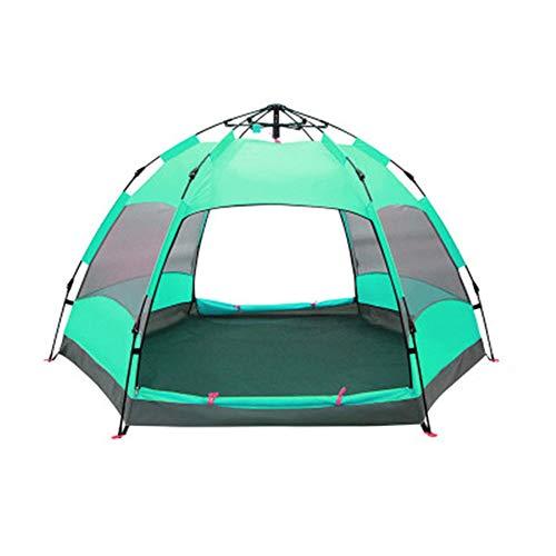 ZHANGyy Tente Hexagonale Entièrement Automatique Grande Aventure Épaisse en Plein Air Anti-Tempête Respirable,aquablue,XL