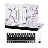 Hülle Star MacBook Pro 13 Zoll Hülle 2019 2018 2017 2016 Release A1706 A1708 A1989 A2159 Ultra Dünn Kunststoff Hard Sleeve Cover und Tastatur Cover und Staubpinsel (Marmor Notebook - Weiß)