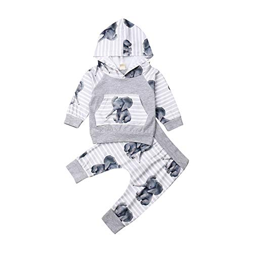 Fall Winter Infant Baby Boys Clothes Elephant Hoodie Sweatshirt Tops & Pants 2Pcs Outfits Clothing Set(Grey,0-3 Months)