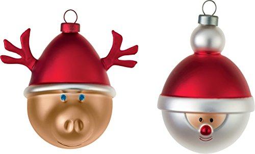 Alessi Babbo Natale e Babbarenna Vetro soffiato Palla a Mano di Natale Decorato - Lotto di 2