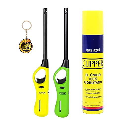 Clipper 2 Encendedores Cocina barbacoa + 1 Botella Gas Azul 300 ml + 1 Llavero, Gas Sirve Para Recargar Soplete de Cocina