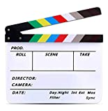 Lynkaye Movie Film Video Clapboard irector's Cut Action Scene Clapper Board,Movie Theme Party Decorations - Black/Colorful, 11.8x10.6 inches (Colorful)