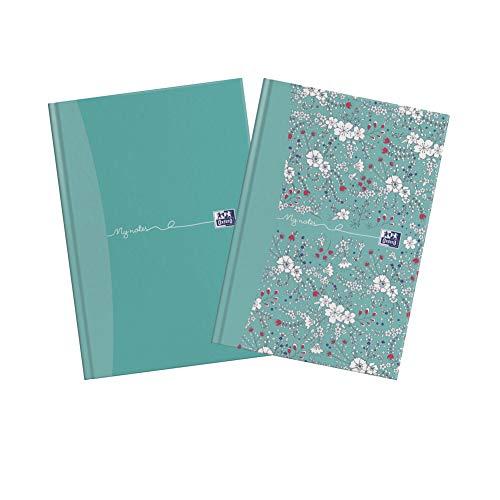 Oxford My Notes - Cuaderno de tapa dura (A5, 2 unidades), diseño de flores y verde azulado