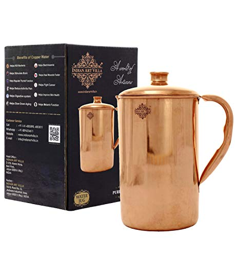 Indian Art Villa Handmade Pure Copper Jug Pitcher With Lid Storage Serving Water s Indian Yoga, Ayurveda, 57 OZ