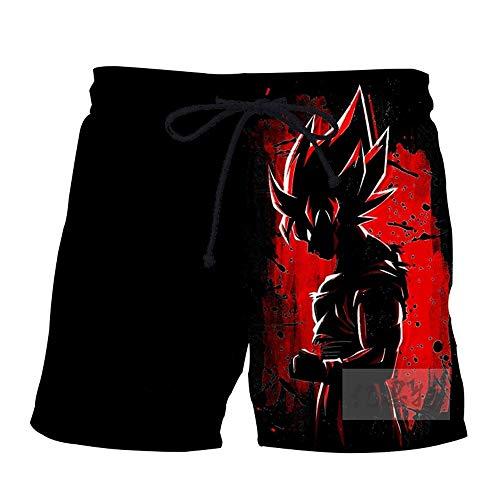 NIEWEI-YI Hombre Bañador Shorts 3D Playa Natacion Pantalon Corto Poliéster Secado Rápido Ligero Moda Shorts Dragon Ball,M