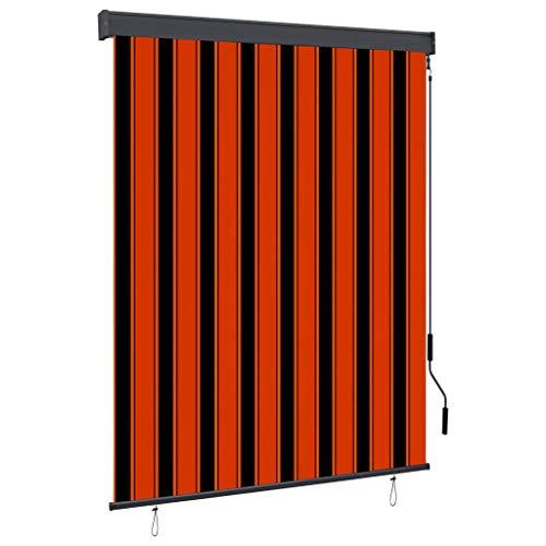 vidaXL Estor Enrollable de Exterior Persiana Toldo Vertical de Jardín Balcón Porche Pantallas de Privacidad Sombra 140x250cm Naranja y Marrón