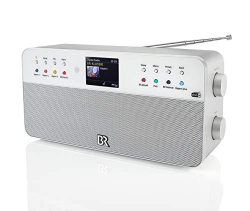 Dual Digitalradio • 8 Speichertasten für BR-Sender • Fernbedienung • Wecker • Kopfhöreranschluss • Farbdisplay • Stereoklang • AUX-In • Silber • BR Radio 2, Stereo