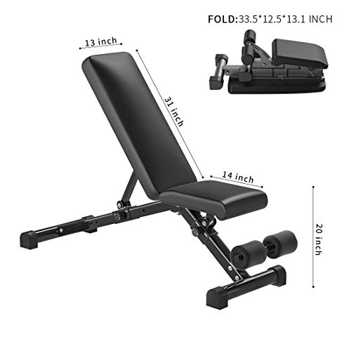 KFK Quick Assembling Adjustable Weight Lifting Benches Fitness Full Body Workout Benchpress Foldable Incline Decline Exercise Workout Bench for Home GYM Exercice with Leather Pad