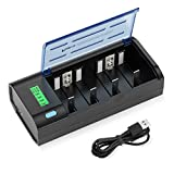 POWXS Universal Battery Charger for C D AA AAA 9V NiMH NiCD Rechargeable Batteries, USB Type C Fast Charger with Discharge Function