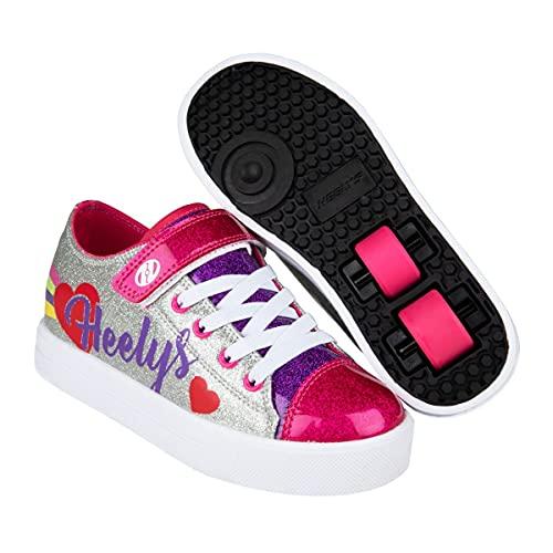 Heelys Snazzy X2 Mädchen Roller Skate Sneaker Schuhe, Silbernes Regenbogenherz, 30 EU