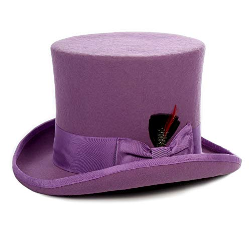 Ferrecci Wool Satin Lined Purple Top Hat with Grosgrain Ribbon and Removable Feather - Unisex, Men, Women (Large)