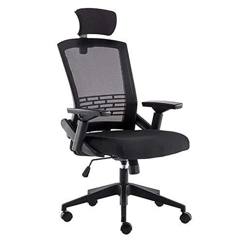 GSN Sgs Certificationoffice mit hohem Rücken Schwenker-Ineinander greift Schreibtisch Kippfunktion Explosionsgeschützte pneumatischer Rod mit hohen Dichte Schwamm Füllung Sessel (Color : Black)