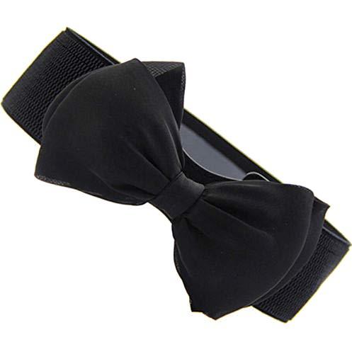 Vrouwen Witte Elastische Riem Bow Brede Stretch Lederen Riem Harajuku Stijl Riem Voor Jurken Vrouwen-Zwart-Maat 105