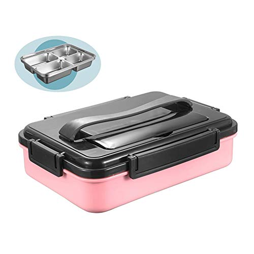 Affordable GXYAWPJ Glass Bento Box 4 Cells Compartments Stainless Steel Lunch Box for Adults and Kid...