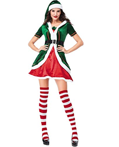 NANXCYR Adult Weihnachten Dress Up Netter Weihnachts Grün Elf Kostüm, Herren und Damenkostüme, Paare Weihnachten Grün Elf Set, Hinzufügen Festliche Atmosphäre,Women,L