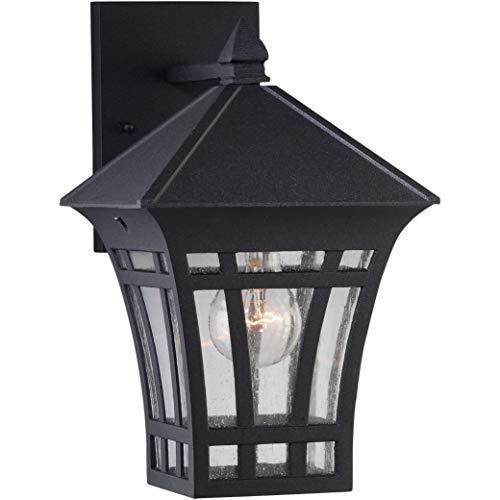 Sea Gull Lighting 88132-12 Herrington One-Light Outdoor Wall Lantern Outside Fixture, Black Finish