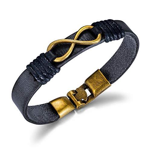 ZZBB Pulsera de cuerda de cuero de aleación de cuero de moda retro de los hombres de la joyería