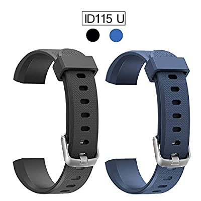 Replacement Band for ID115U, 2 Pack REDGO ID115 U and ID115U HR Replaceable Strap Length Adjustable for Smart Bracelet Fitness Tracker, Black Blue