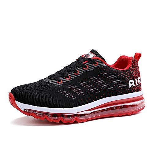 gojiang Herren Damen Turnschuhe Laufschuhe Sportschuhe Straßenlaufschuhe Sneakers Atmungsaktiv Trainer Running Fitness Gym Outdoor Leichte BlackRed40
