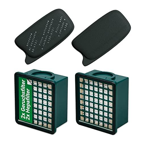 Filterset aus 2 x Geruchsfilter Aktiv-Kohlefilter und 2 x Hepa-Filter für Kobold VK130 VK131 VK131SC Staubsauger Ersatz Vorwerk FL-A13 FL-H13 Filter Mikrofilter für Handstaubsauger
