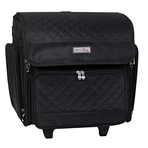 Everything Mary Deluxe Collapsible Rolling Craft Case, Black Quilted - Scrapbook Tote Bag w/Wheels for Scrapbooking & Art - Travel Organizer Storage for IRIS Boxes - for Teachers & Medical
