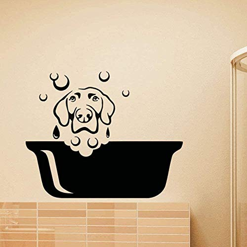 Etiqueta de la pared PVC Extraíble Etiqueta de la pared Perro lindo Cachorro Arte Etiqueta Niños Habitación Mural y Mural Sala de estar Aseo de mascotas Art Poster 35x42cm