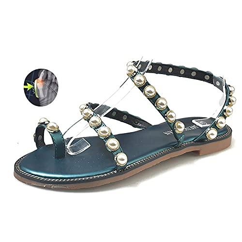 WYZXR Versión Mejorada Sandalias correctivas para juanetes para Mujer Verano PU Cuero Chanclas con Punta Abierta Chanclas de Viaje en la Playa Zapatillas Casuales para aliviar el Dolor Corrección de