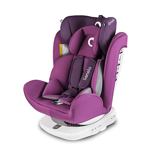 Lionelo Bastiaan siege auto bebe 0 à 36kg Isofix Top Tether Rotation à 360 degrés protection supplémentaire latérale harnais à 5 points coussin réducteur Dri-Seat (Violet)