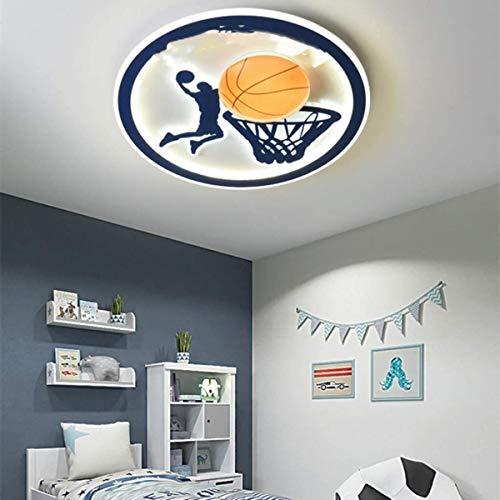 Basketball Deckenleuchte Kinderzimmer Cartoon Deckenleuchte | Umweltschutz | Augenschutz | Dimmbar | Acryl-Lampenschirm 3D Hohldesign für Schlafzimmer Innenbeleuchtung 50 cm (60w), orange