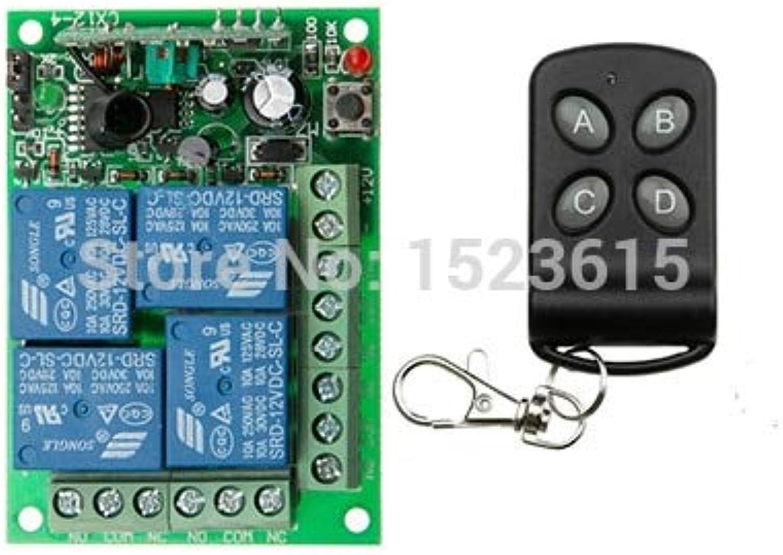 DC12V 4CH 10A Wireless Remote Control Switch System teleswitch 1X Transmitter + 1X Receiver Relay Smart House zWave