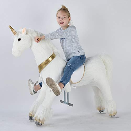 UFREE Action Pony, Caballo mecánico de Juguete de tamaño Grande, Montar, botar Arriba y Abajo, Altura 44'' para niños de 6 años hasta Adultos (Unicornio de Oro)