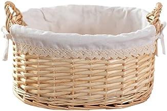 SKGOFGODcw Home Storage Bins Small Rattan Storage Basket, Bamboo Woven Fabric Woven, With Handle and Lining, Desktop Stora...