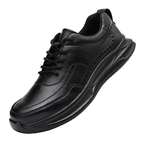 Meng Zapatos de Seguridad para Hombre Transpirable Ligeras con Puntera de Acero Zapatillas de Seguridad Trabajo, Calzado de Industrial y Deportiva (Color : Black, Size : 40)