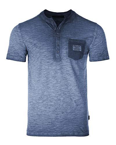 Men's Vintage Color Dyed Short Sleeve Crew Neck Chest Pocket Henley Shirt 3