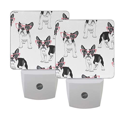 Naanle Set of 2 Cartoon French Bulldog Pink Glasses Auto Sensor LED Dusk to Dawn Night Light Plug in Indoor for Adults